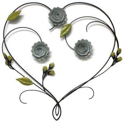 Leighton Bronze Floral Heart Metal Wall Art