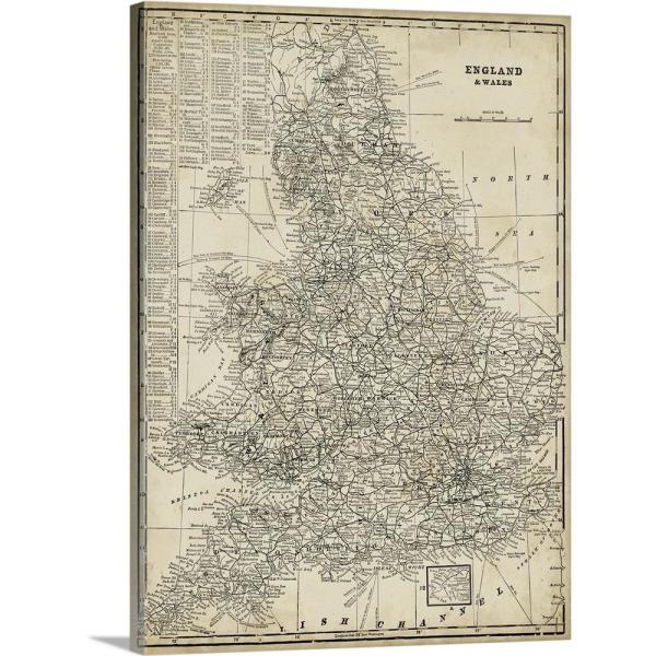 Big Map Of England.Antique Map Of England By Vision Studio Canvas Wall Art