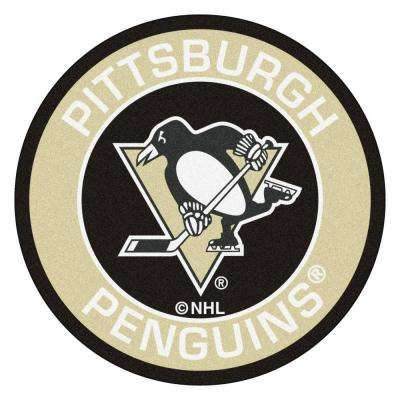 NHL Pittsburgh Penguins Cream 2 ft. 3 in. x 2 ft. 3 in. Round Accent Rug