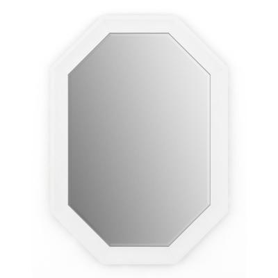 33 in. W x 46 in. H (L3) Framed Octagon Deluxe Glass Bathroom Vanity Mirror in Matte White