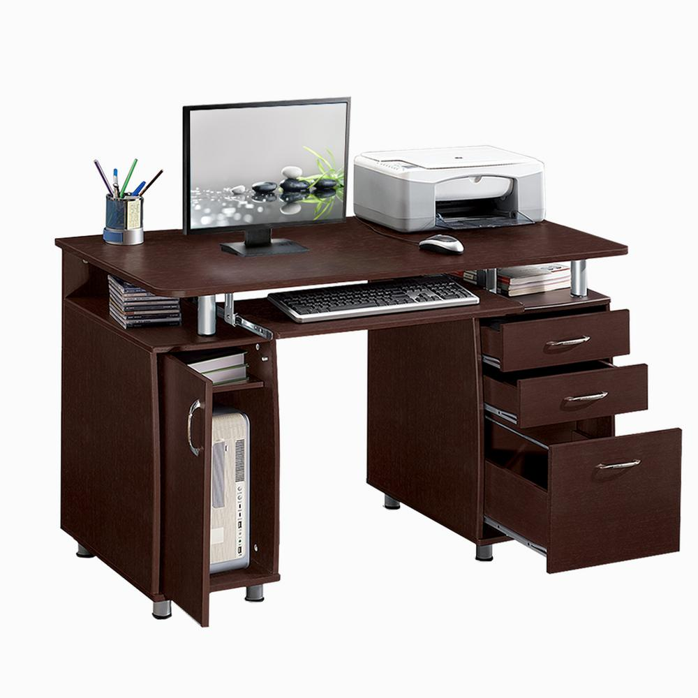 Captivating Chocolate Complete Workstation Computer Desk With Storage RTA 4985 CH36    The Home Depot