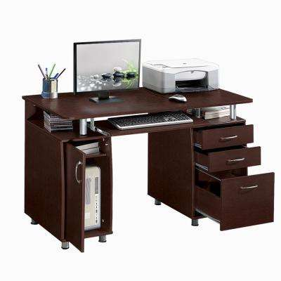 Lovely Chocolate Complete Workstation Computer Desk With Storage