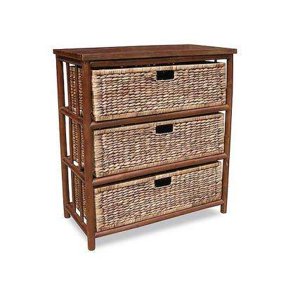Shelly Assembled 30 in. x 30 in. x 15.25 in. Open Sided Storage Cabinet with 3-Baskets in Brown Bamboo