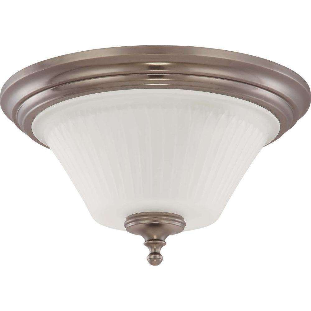 Glomar 3-Light Aged Pewter Flushmount Dome Light with Frosted Etched Glass