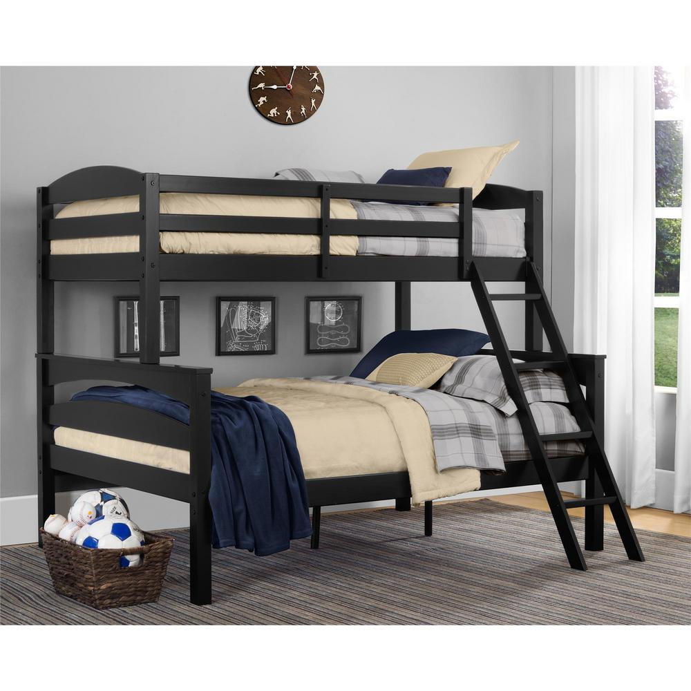 Dorel Living Brady Twin Over Full Black Wood Bunk Bed