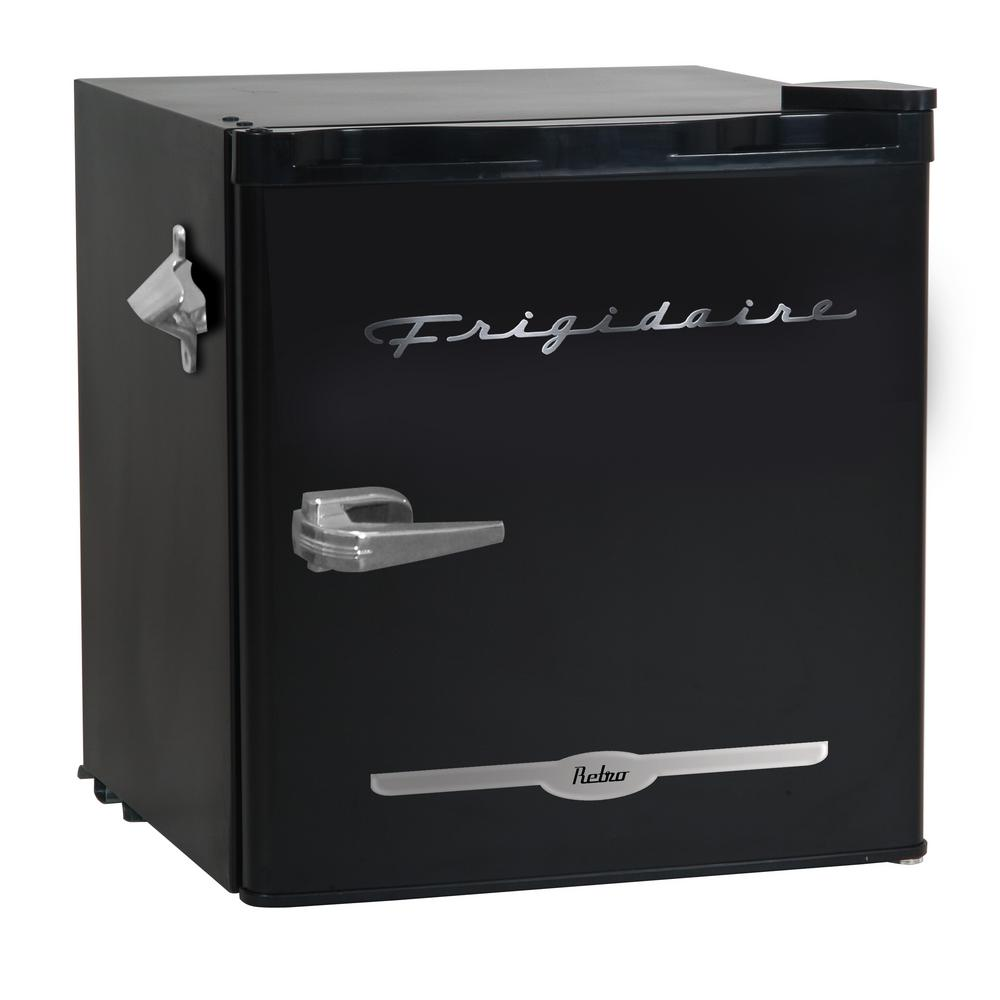 Frigidaire 1.6 cu. ft. Mini Refrigerator in Black The Frigidaire1.6 cu. ft. retro design refrigerator with built-in side bottle opener has enough room to store your favorite foods and drinks, while not taking up a lot of space. The convenient door basket on the reversible door is large enough for 2 l bottles and canned drinks. This low energy consumption refrigerator is perfect for the office or extra rooms away from the kitchen with its space saving flush back design. Color: Black.