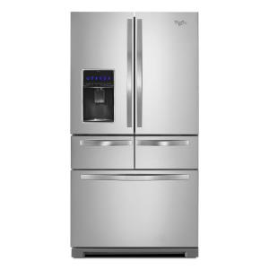 Click here to buy Whirlpool 36 inch W 25.8 cu. ft. Double Drawer French Door Refrigerator in Monochromatic Stainless Steel by Whirlpool.
