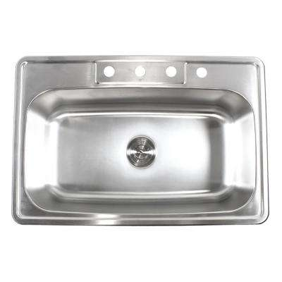 Top Mount Drop-In Stainless Steel 18-Gauge 33 in. x 22 in. x 9 in. Deep 4-Faucet Holes Single Bowl Kitchen Sink