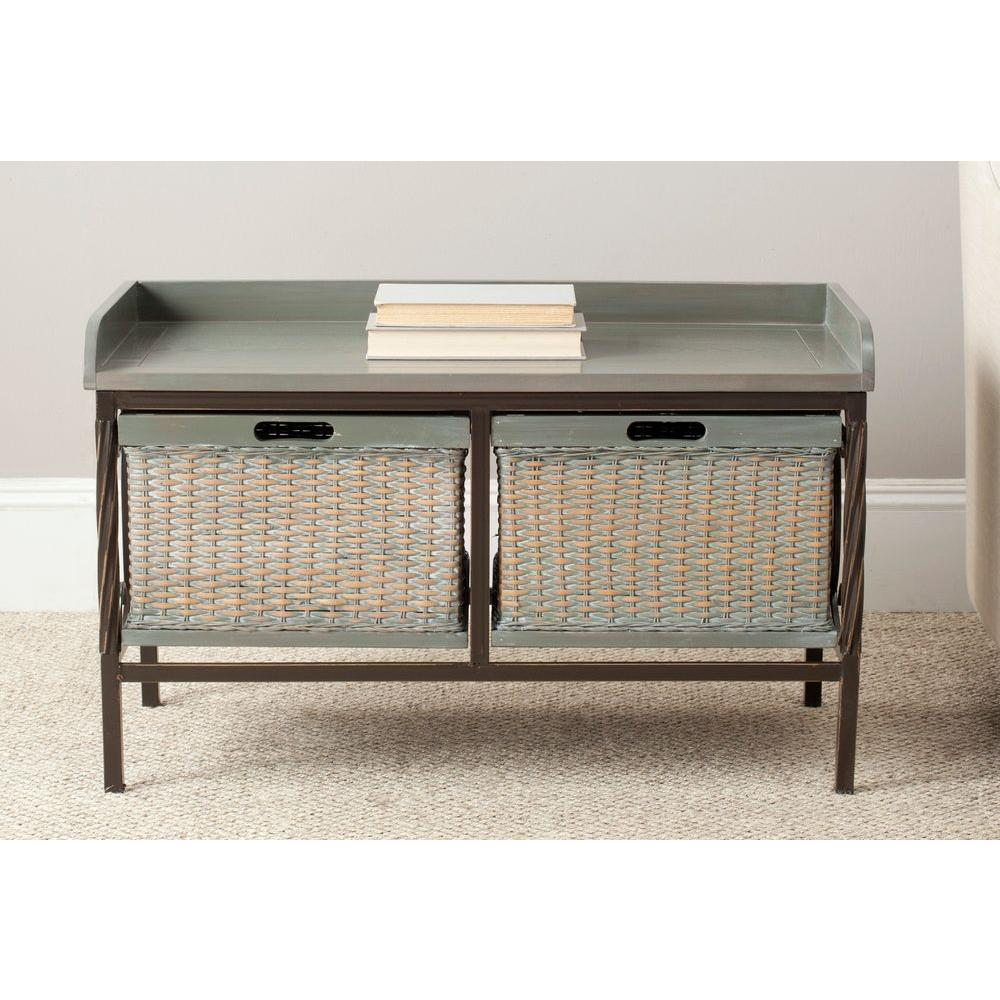 Safavieh nah french grey storage bench amh6528b the home depot Gray storage bench