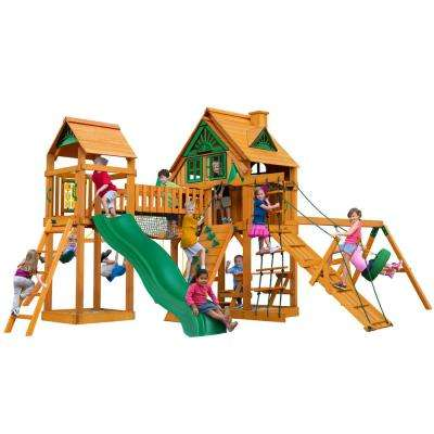 Pioneer Peak Treehouse Cedar Swing Set with Fort Add-On and Natural Cedar Posts