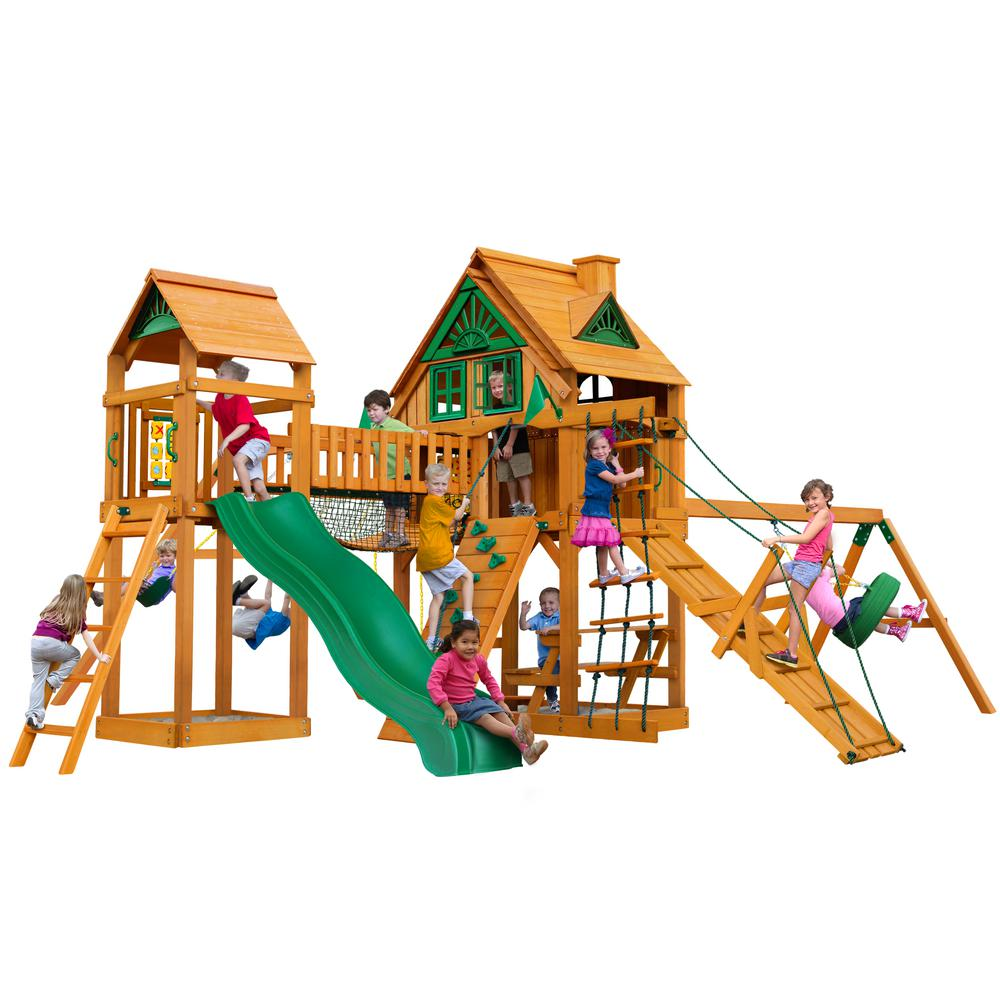 Gorilla Playsets Pioneer Peak Treehouse Wooden Swing Set with Fort Add-On and Clatter Bridge