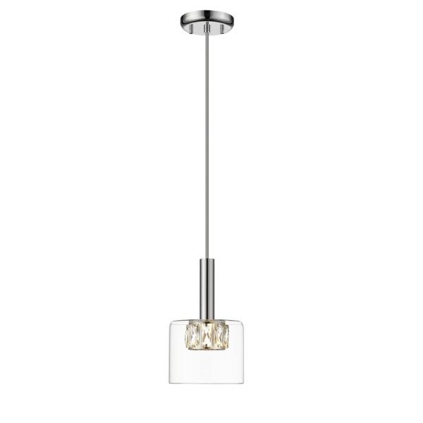 Cider II Integrated LED Chrome Mini Pendant with Crystal and Glass Shade