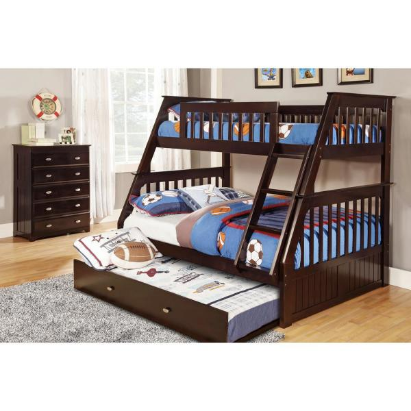 American Furniture Classics Espresso Twin Over Full Solid Pine Bunkbed With Twin Pull Out Trundle 2918 Tfet The Home Depot