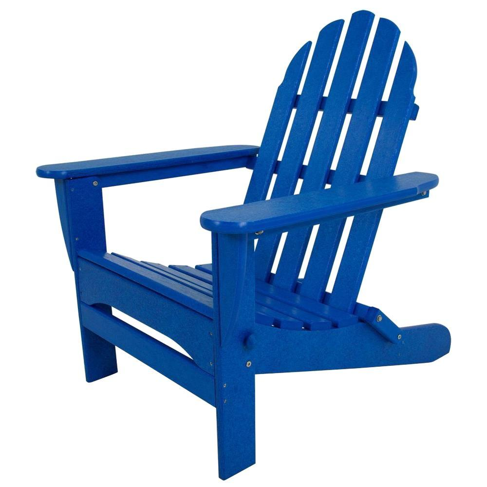 Polywood Classic Pacific Blue Folding Plastic Adirondack Chair