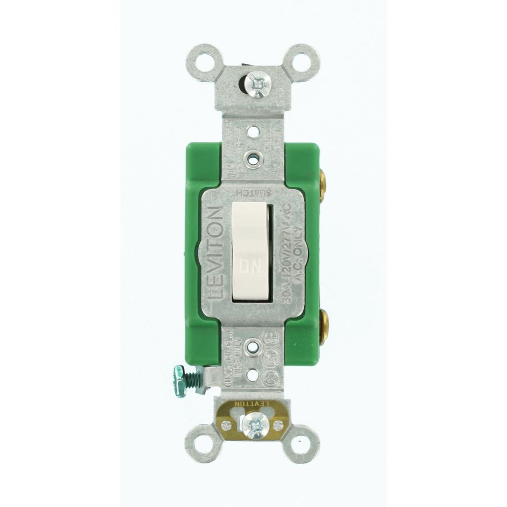 Leviton 30 Amp Industrial Grade Heavy Duty Single Pole Toggle Switch White 3031 2w The Home Depot