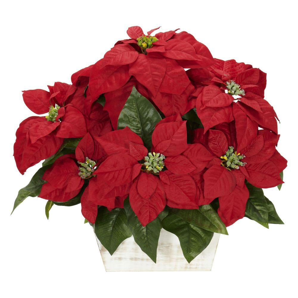 h red poinsettia with white wash planter silk arrangement - White Christmas Flower Decorations