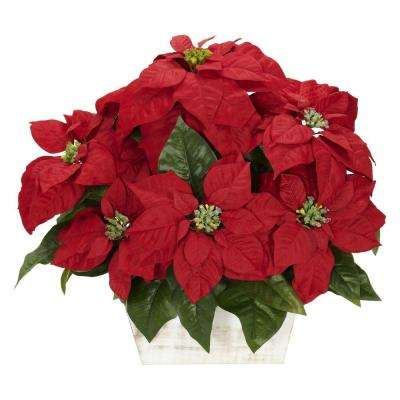 16.5 in. H Red Poinsettia with White Wash Planter Silk Arrangement
