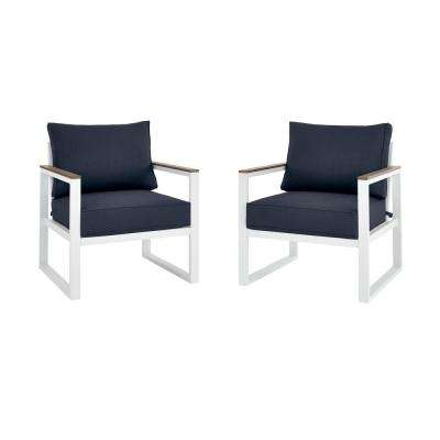 West Park White Aluminum Outdoor Patio Lounge Chair with CushionGuard Midnight Navy Blue Cushions (2-Pack)