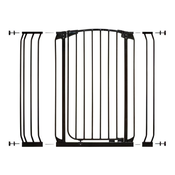Chelsea 39.4 in. H Extra Tall Auto-Close Security Gate in Black with Extensions
