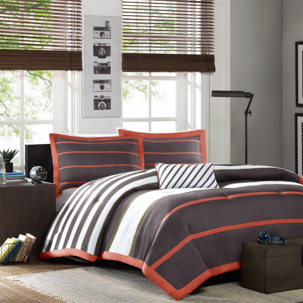 Jonah 4-Piece Orange/Grey King/Cal King Print Comforter Set