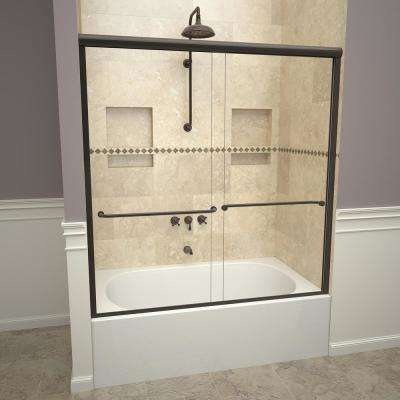 2000V Series 60 in. W x 58-1/4 in. H Semi-Frameless Sliding Tub Doors in Oil Rubbed Bronze with Towel Bar
