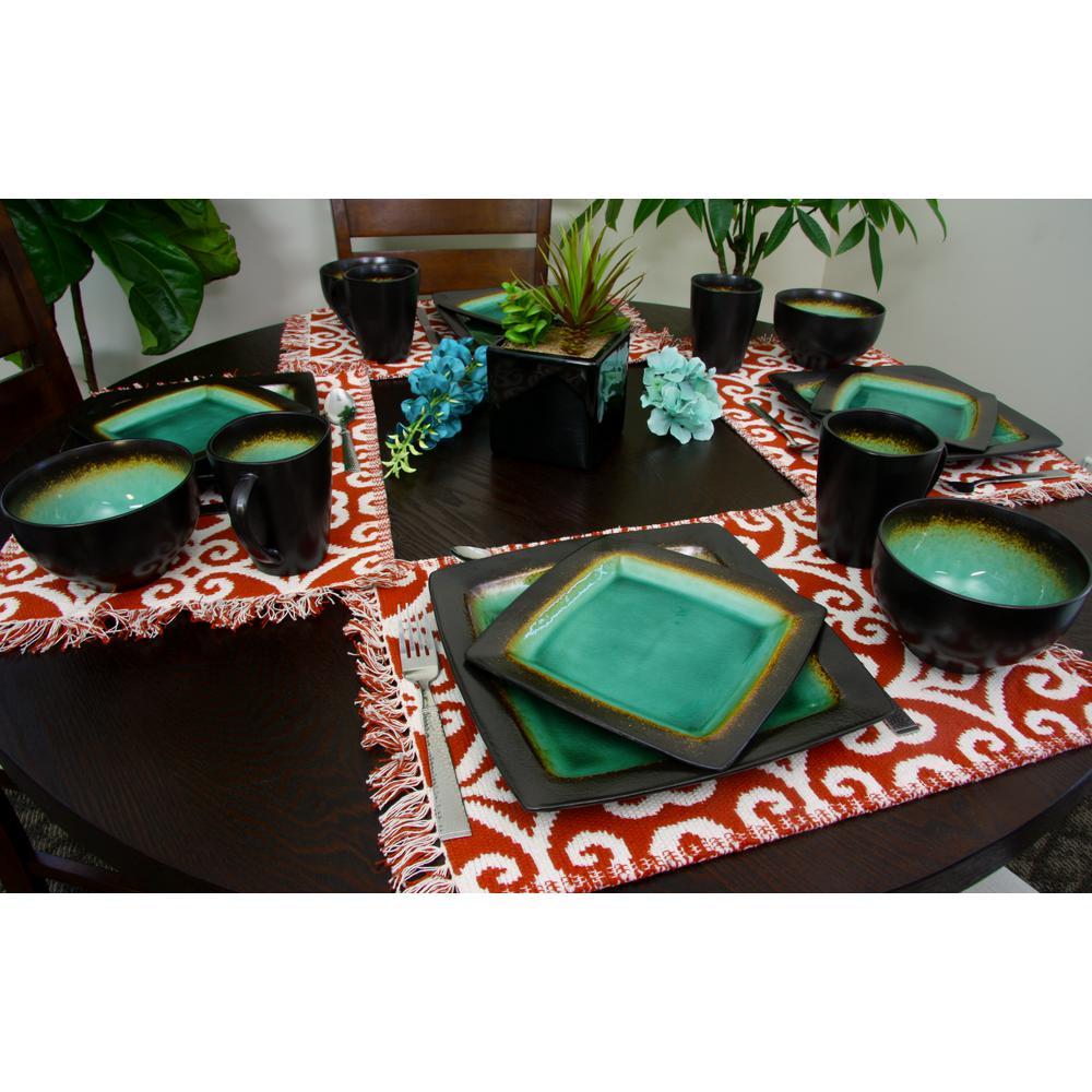 Ocean Paradise 16-Piece Contemporary Blue Stoneware Dinnerware Set (Service for 4)
