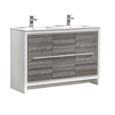 Allier Rio 48 in. Modern Bathroom Vanity in Ash Gray with Double Ceramic Vanity Top in White