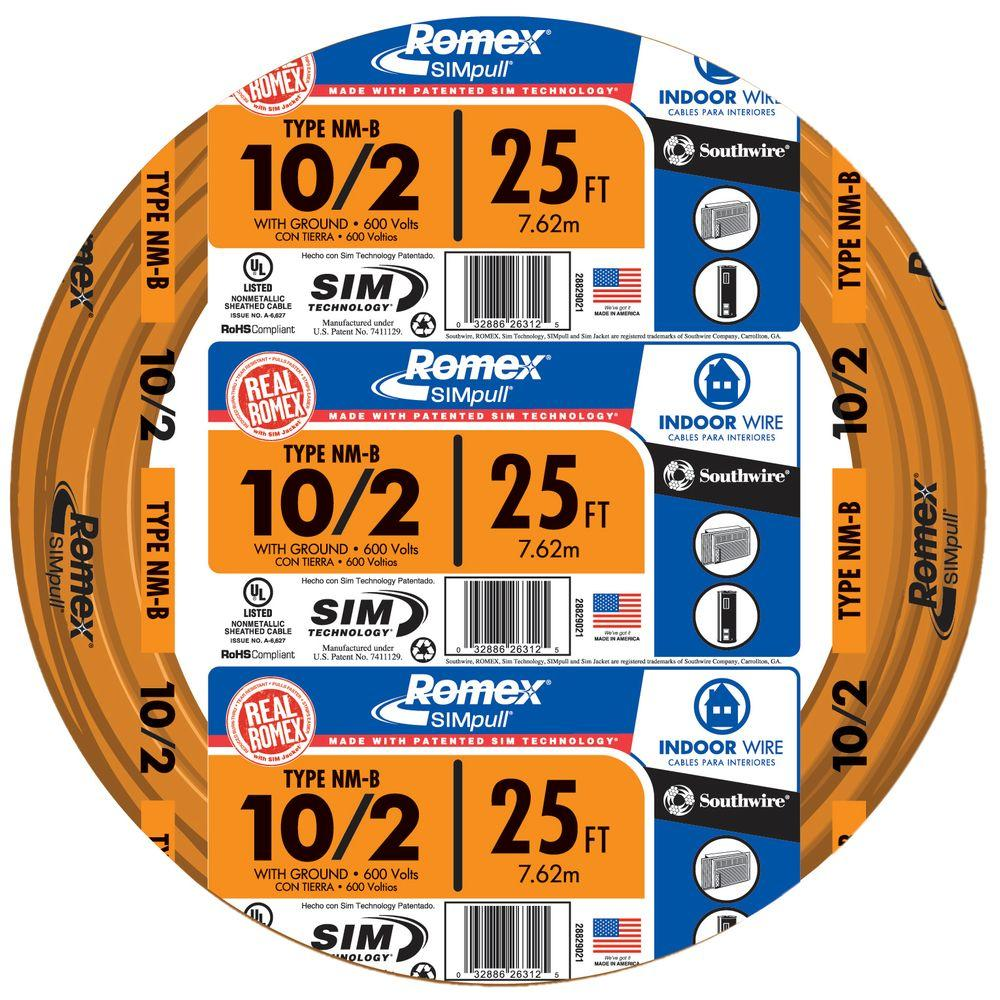 Southwire 25 ft. 10/2 Solid Romex SIMpull CU NM-B W/G Wire-28829021 ...