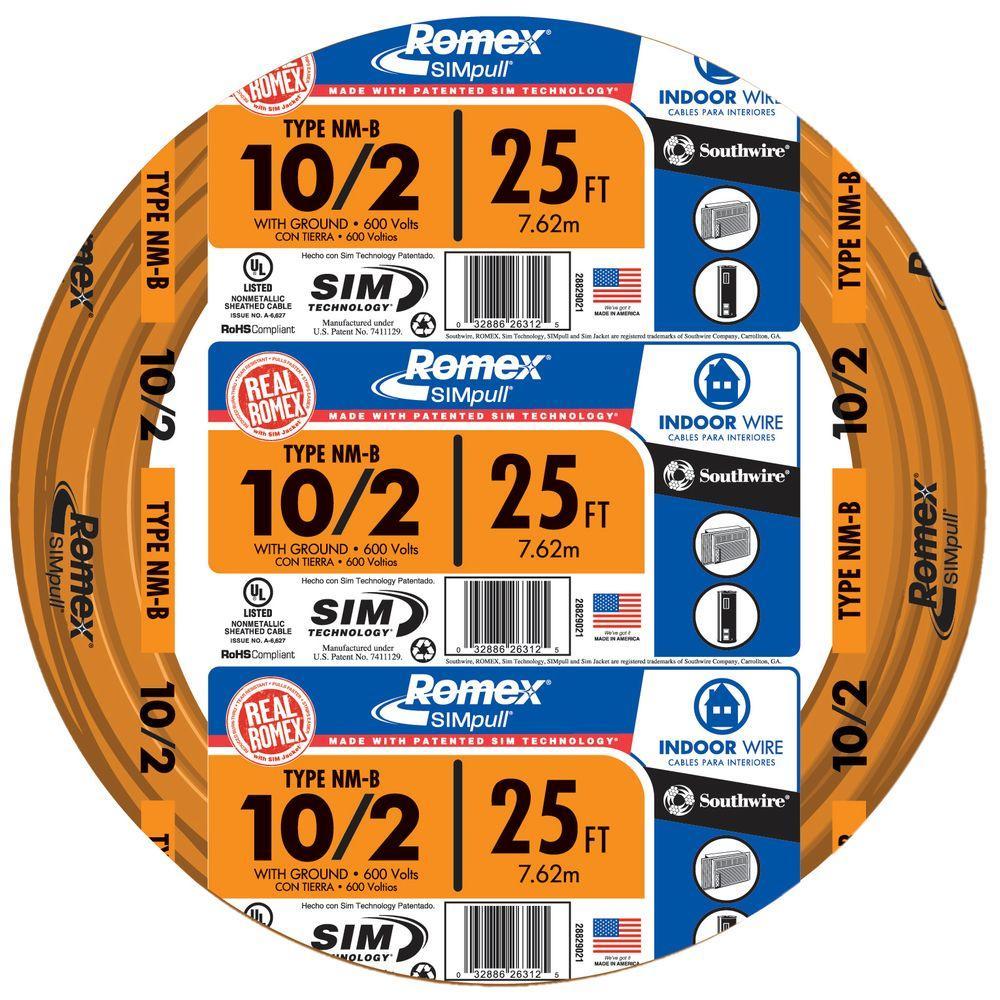 25 ft. 10/2 Solid Romex SIMpull CU NM-B W/G Wire