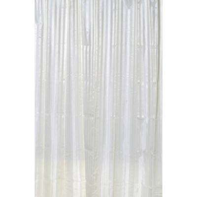 Stripes Vertical 79 in. Polyester Fabric Shower Curtain Beige