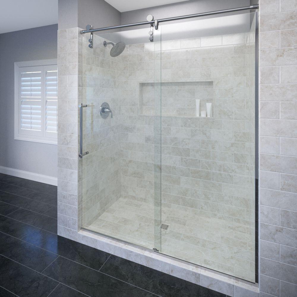 Basco rolaire 47 in x 76 in semi frameless sliding for 3 panel tub shower doors