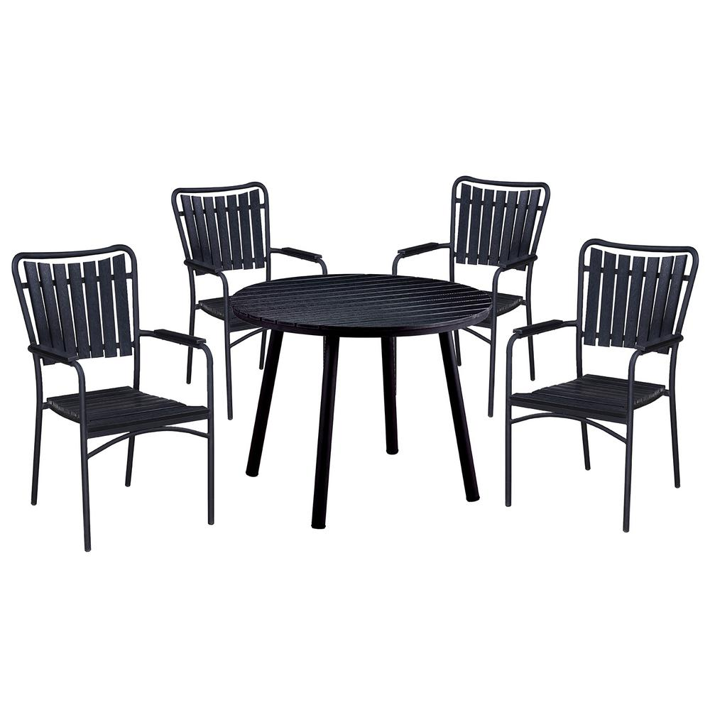 5 Piece Black Metal Outdoor Dining Set With Stackable Chairs
