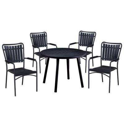 5-Piece Black Metal Outdoor Dining Set with Stackable Chairs