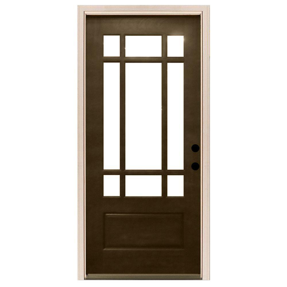 Steves & Sons 36 in. x 80 in. Craftsman 9 Lite Stained Mahogany Wood ...