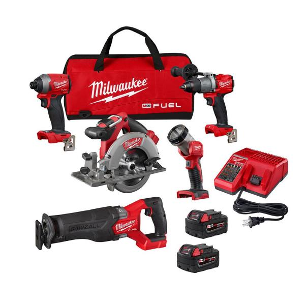 M18 FUEL 18-Volt Lithium-Ion Brushless Cordless Combo Kit (5-Tool) with Two 5.0 Ah Batteries, 1 Charger 1 Tool Bag