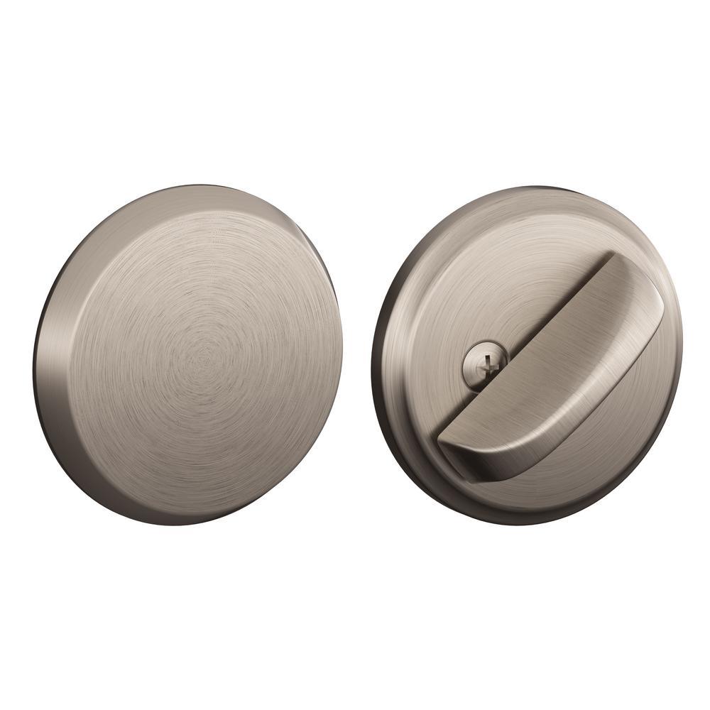 Single Cylinder Interior Satin Nickel Deadbolt Thumbturn With Exterior Plate