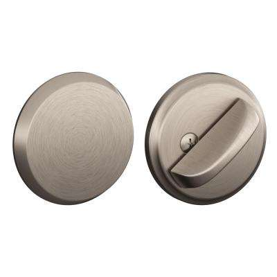 Single Cylinder Interior Satin Nickel Deadbolt Thumbturn with Exterior Plate