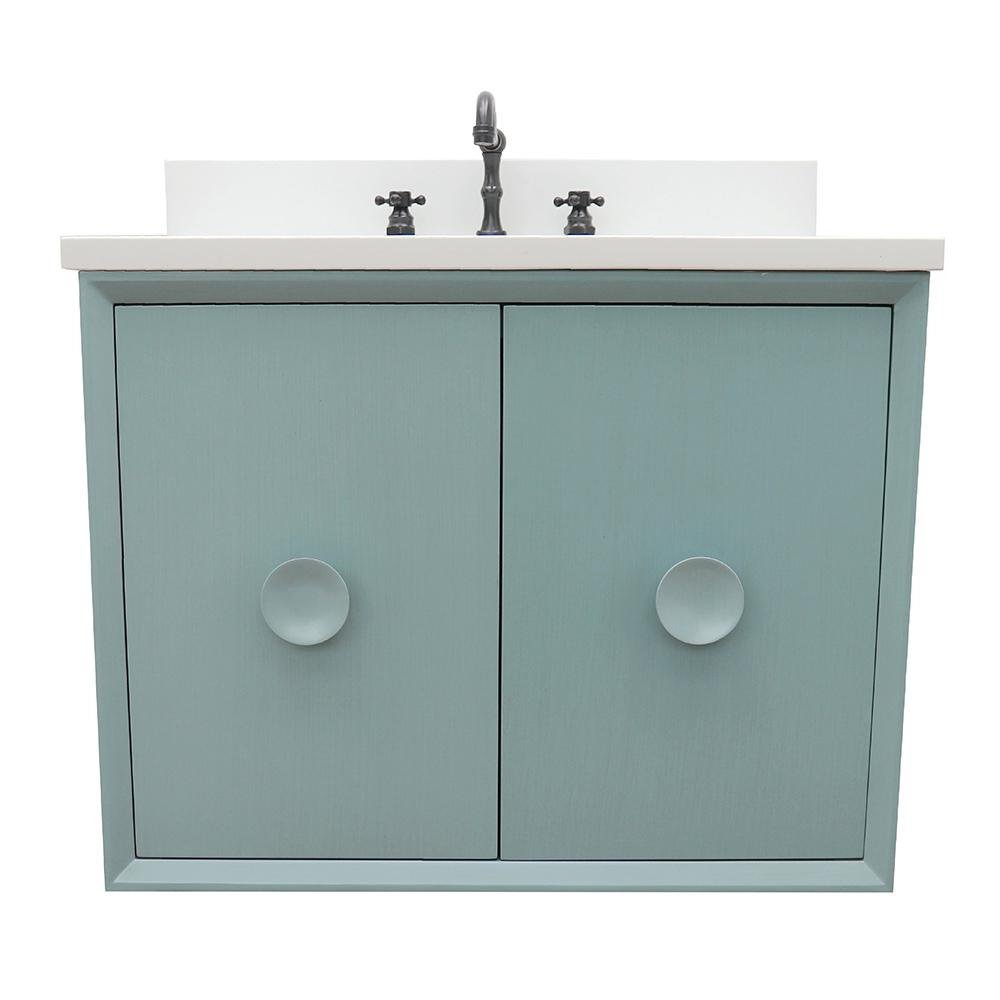 Bellaterra Home Stora 31 in. W x 22 in. D Wall Mount Bath Vanity in Aqua Blue with Quartz Vanity Top in White with White Rectangle Basin