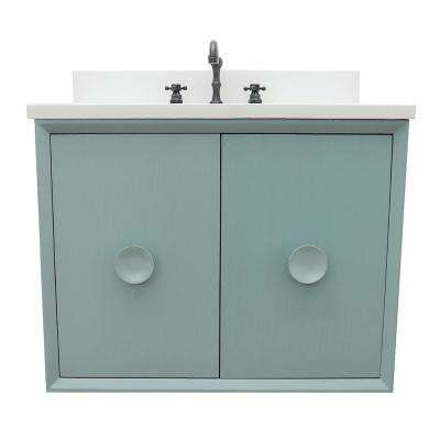Stora 31 in. W x 22 in. D Wall Mount Bath Vanity in Aqua Blue with Quartz Vanity Top in White with White Rectangle Basin