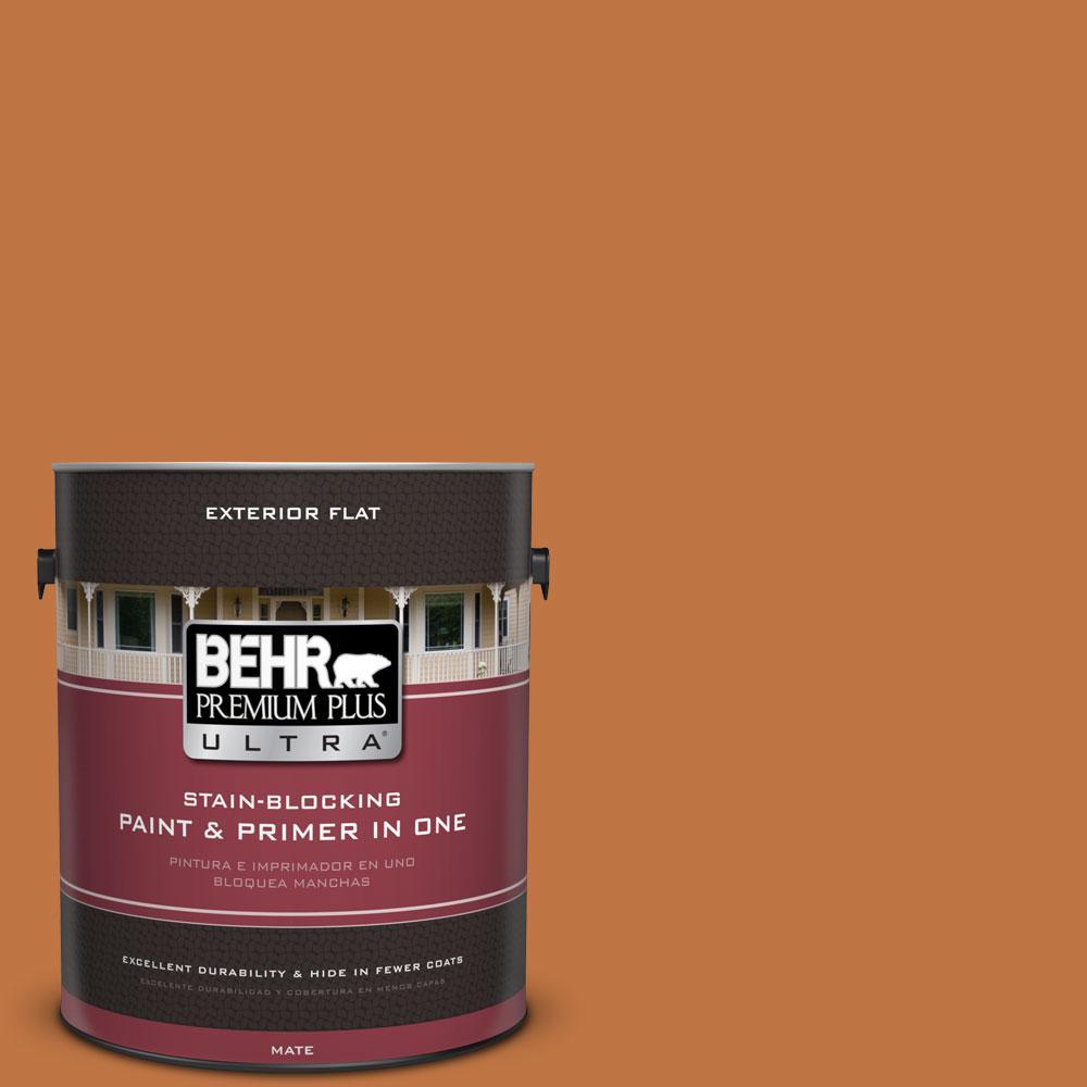 BEHR Premium Plus Ultra 1-gal. #PPU3-2 Marmalade Glaze Flat Exterior Paint