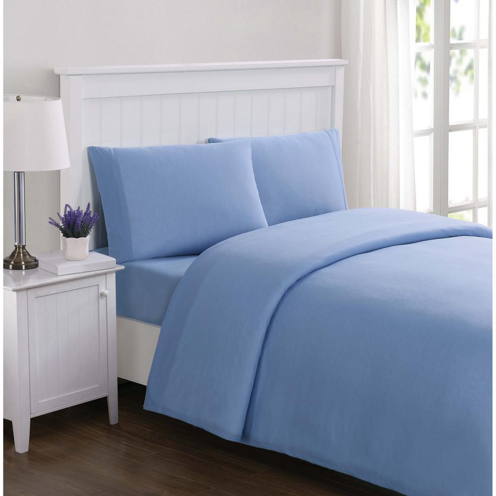 Truly Soft Everyday Solid Jersey Blue Queen Sheet Set