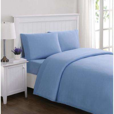 Everyday Solid Jersey Blue Twin Sheet Set