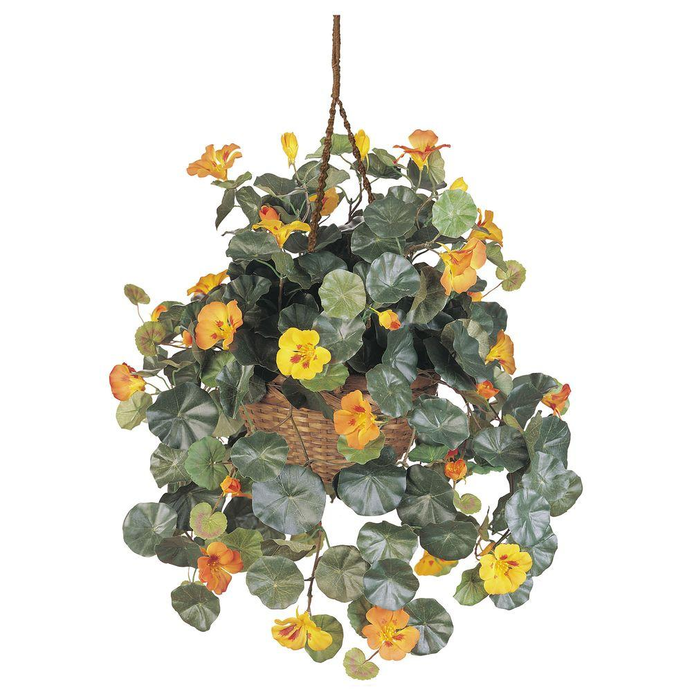 Nearly Natural Nasturtium Hanging Basket Silk Plant