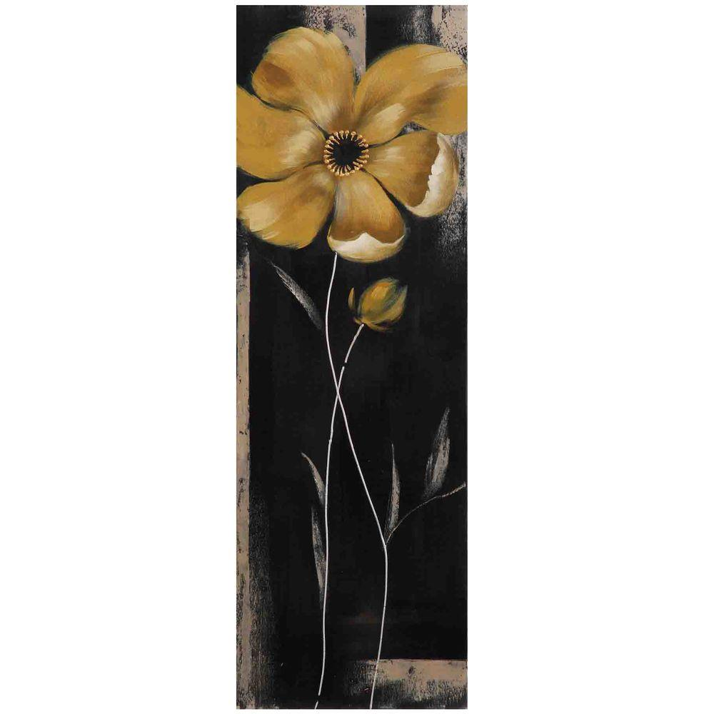 """Yosemite Home Decor 35 in. x 12 in. """"Yellow Star Bloom III"""" Hand Painted Canvas Wall Art"""