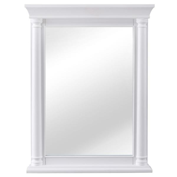 24 in. W x 32 in. H Framed Rectangular  Bathroom Vanity Mirror in White