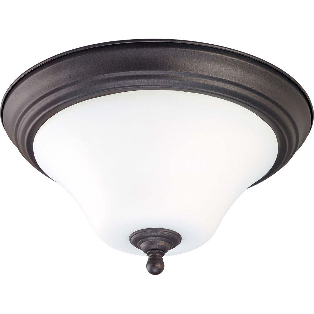 Glomar 1-Light Dark Chocolate Bronze Flush Mount with Satin White Glass