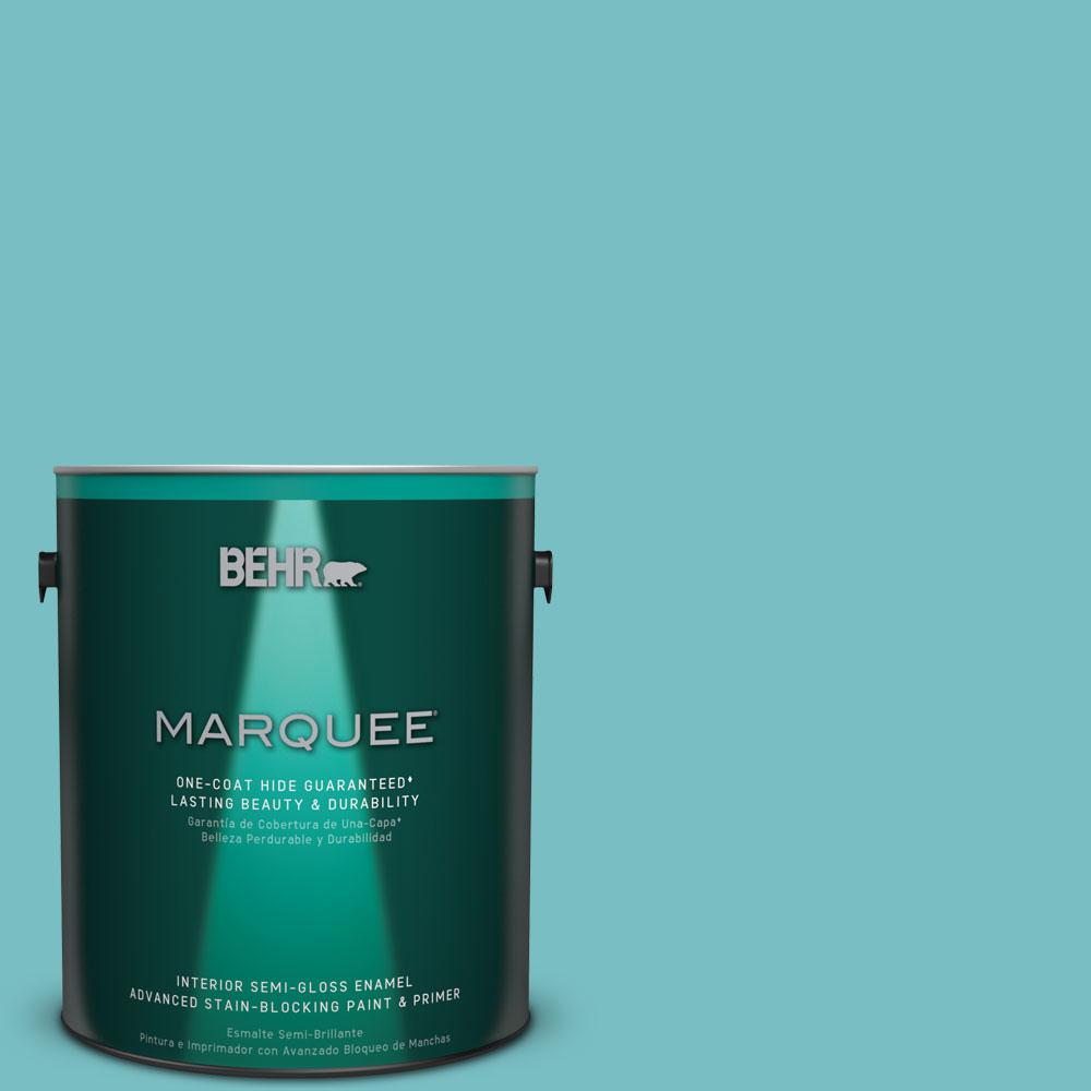 1 gal. #M460-4 Pure Turquoise One-Coat Hide Semi-Gloss Enamel Interior Paint