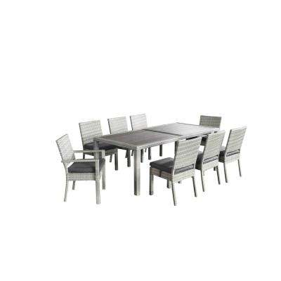 Aquila Light Grey 9-Piece All-Weather Wicker Patio Dining Set with Gray Cushions