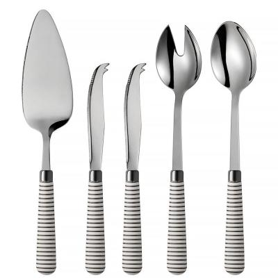 Marina 5-Piece Grey 18/0 Stainless Steel Cheese Knife, Salad Server and Cake Server Set