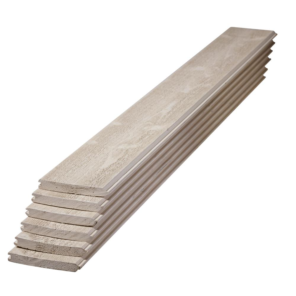 UFP-Edge 1 in. x 6 in. x 4 ft. Premium Primed Gray Spruce Tongue and Groove Board (6-Pack)